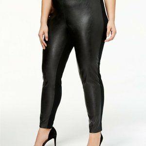 INC Faux Leather & Knit Skinny Pants Black Plus Sz